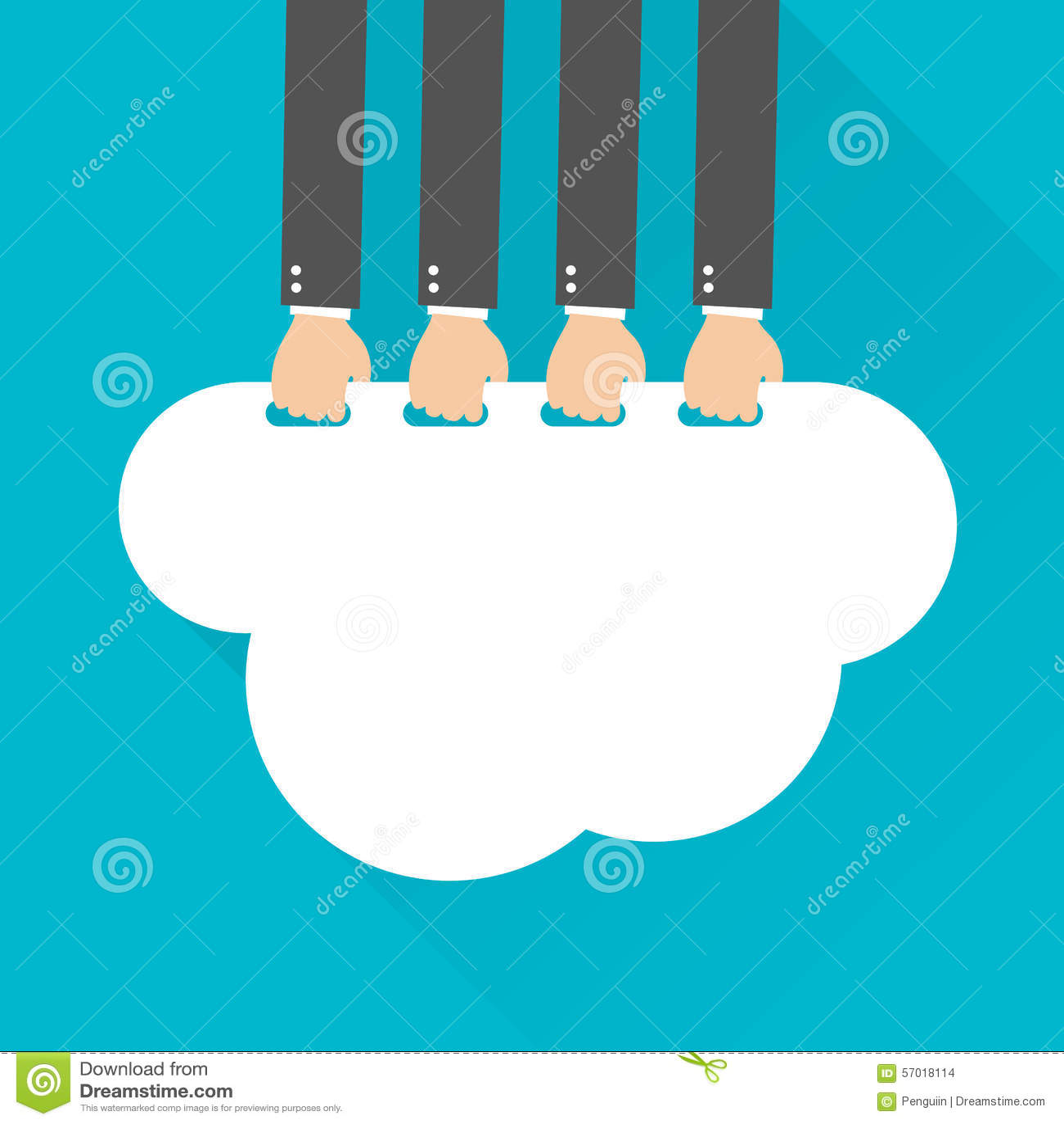 Płaski projekt, biznesmen wskazane chmury, Obłoczny Oblicza pomysłu pojęcie