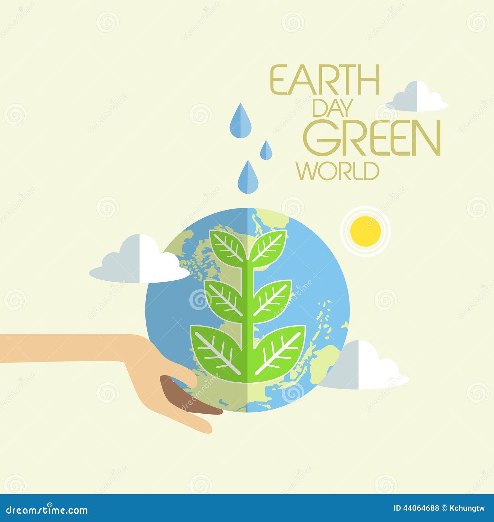 Płaski projekt dla ziemskiego dnia zieleni światu pojęcia