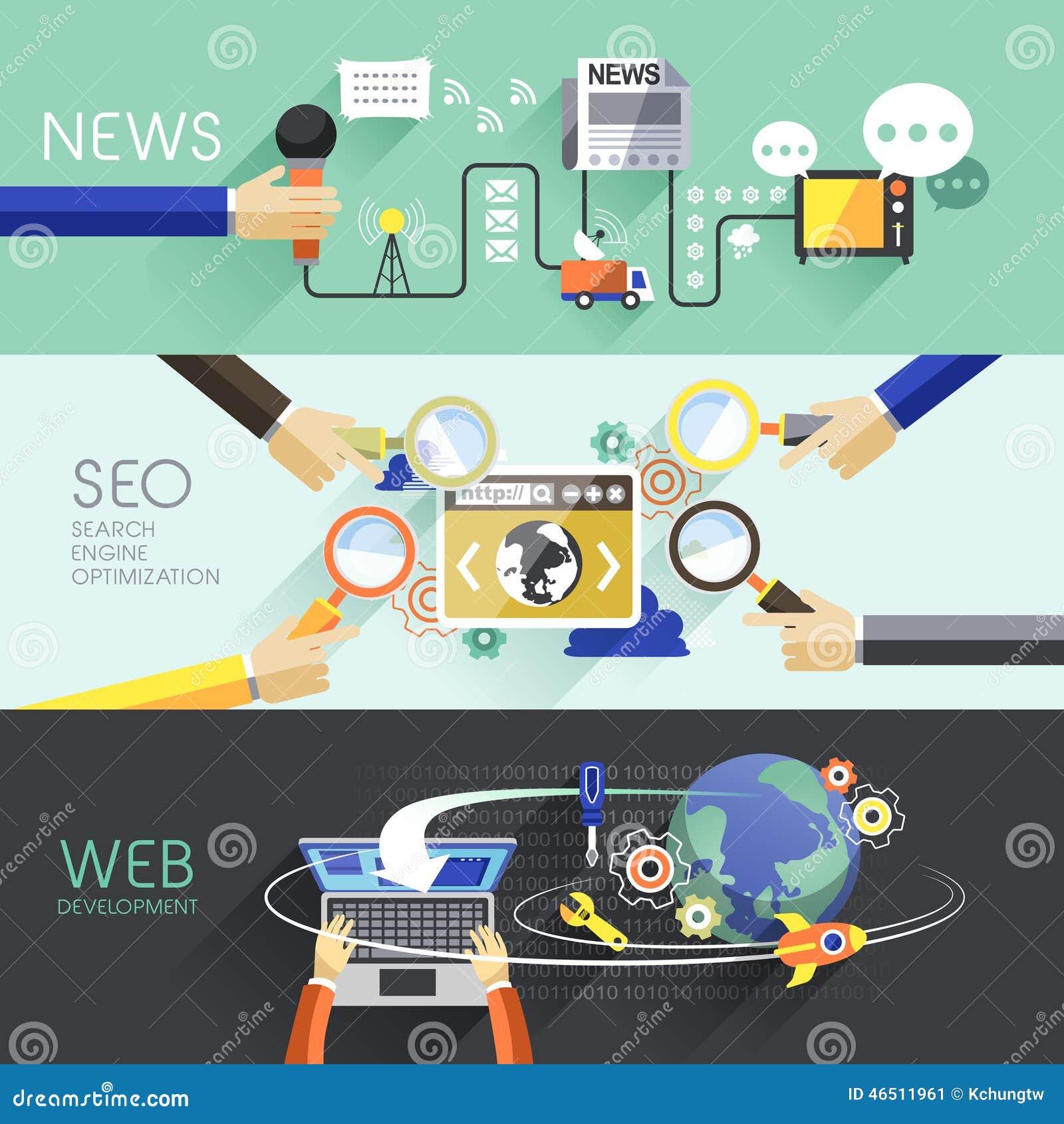 Płaski projekt wiadomość, SEO i sieć,