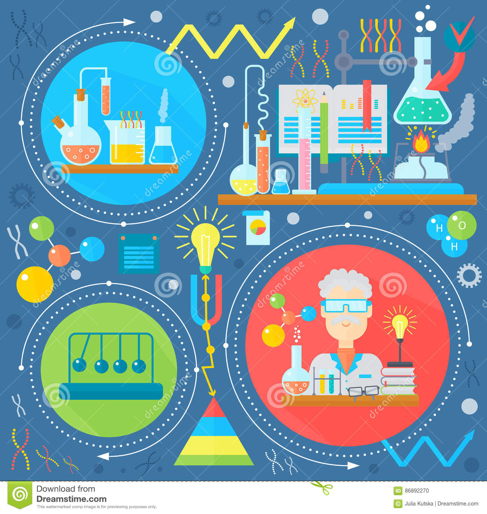 Płaski projekta pojęcie nauka i technika Badanie Naukowe, Chemiczny eksperymentu infographics pojęcia projekt, sieć