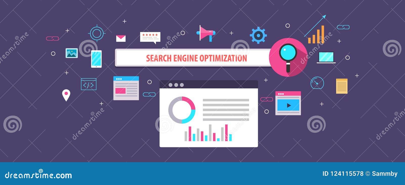 Płaski projekta pojęcie wyszukiwarka optymalizacja, seo, rewizja ranking i widoczność na sieci,