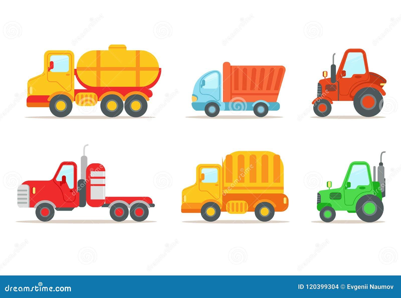 Płaski wektorowy ustawiający różni typ pojazdy Semi przyczepa, ciągniki, ciężarówka, ciężarówka z zbiornikiem Przewieziony lub sa