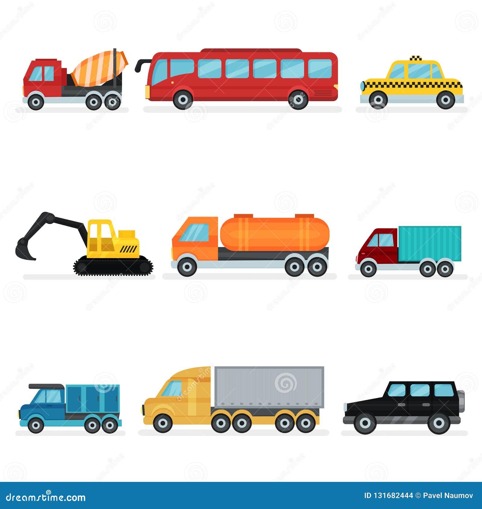 Płaski wektorowy ustawiający różnorodny miastowy transport Pojazdy mechaniczni dla pasażerów, przemysłowej maszynerii i usługowyc