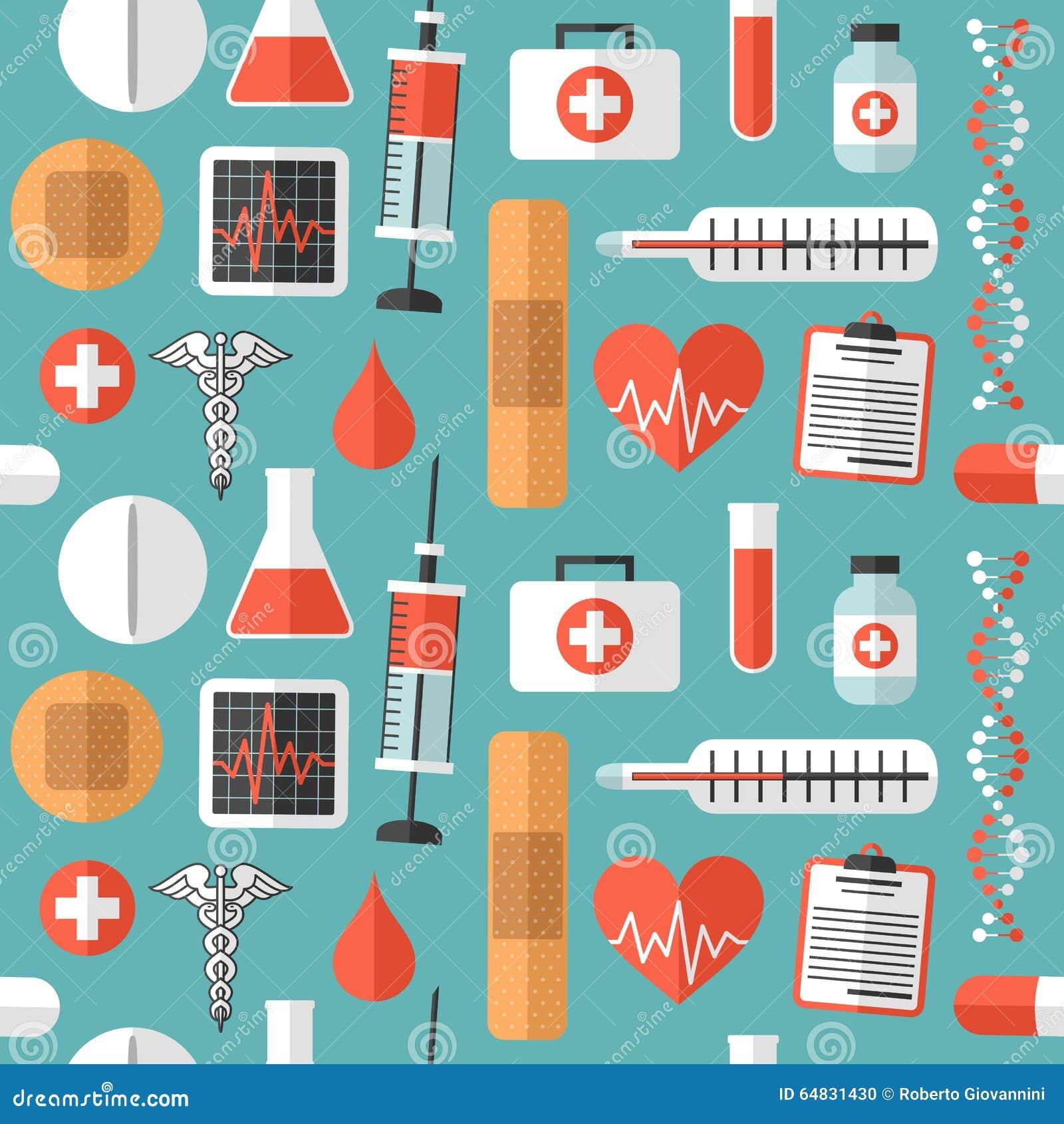 Płaskich Medycznych ikon Bezszwowy wzór