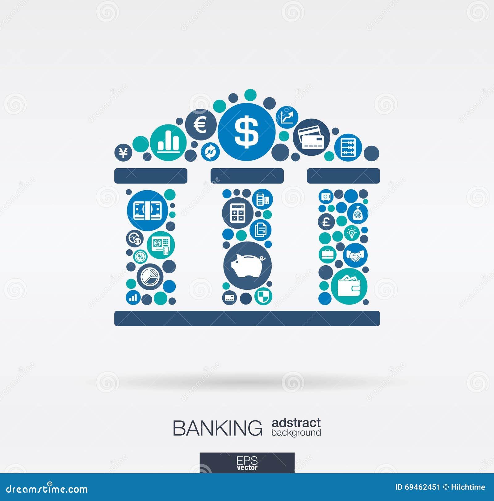 Płaskie ikony w banka budynku kształta, bankowości, pieniądze, karty, biznesu i finanse pojęciu,