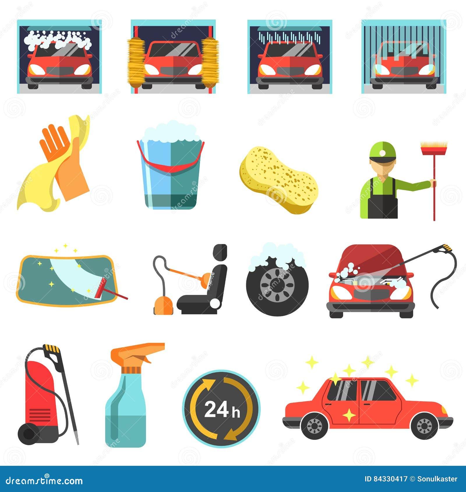 Płaskie wektorowe samochodowego obmycia ikony
