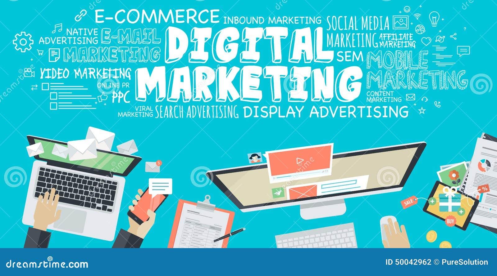 Płaskiego projekta ilustracyjny pojęcie dla cyfrowego marketingu