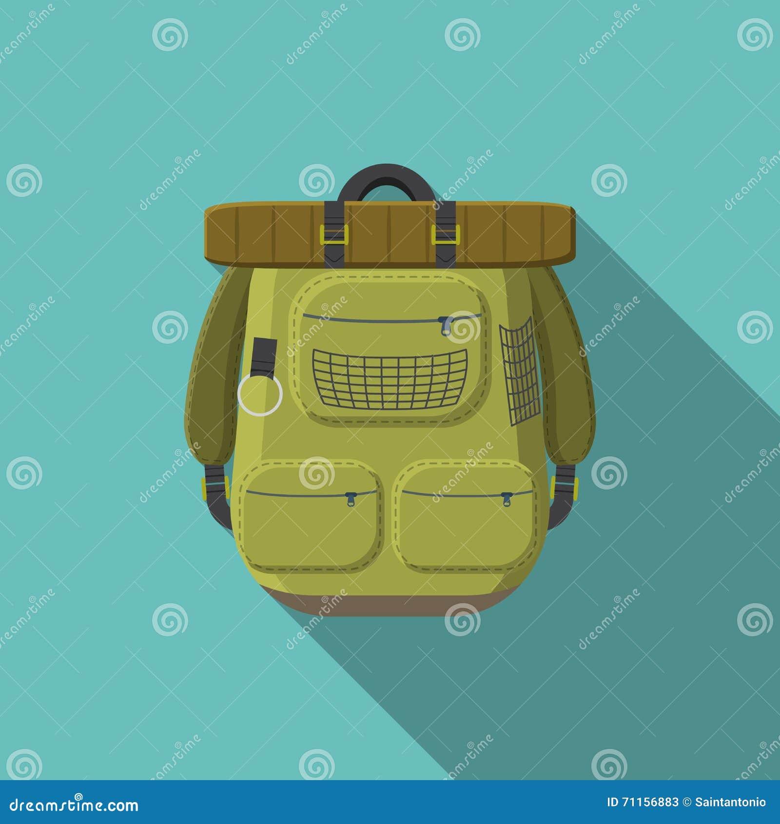 Płaskiego projekta nowożytna wektorowa ilustracja turystyczna plecak ikona camping i wycieczkować wyposażenie z długim cieniem,