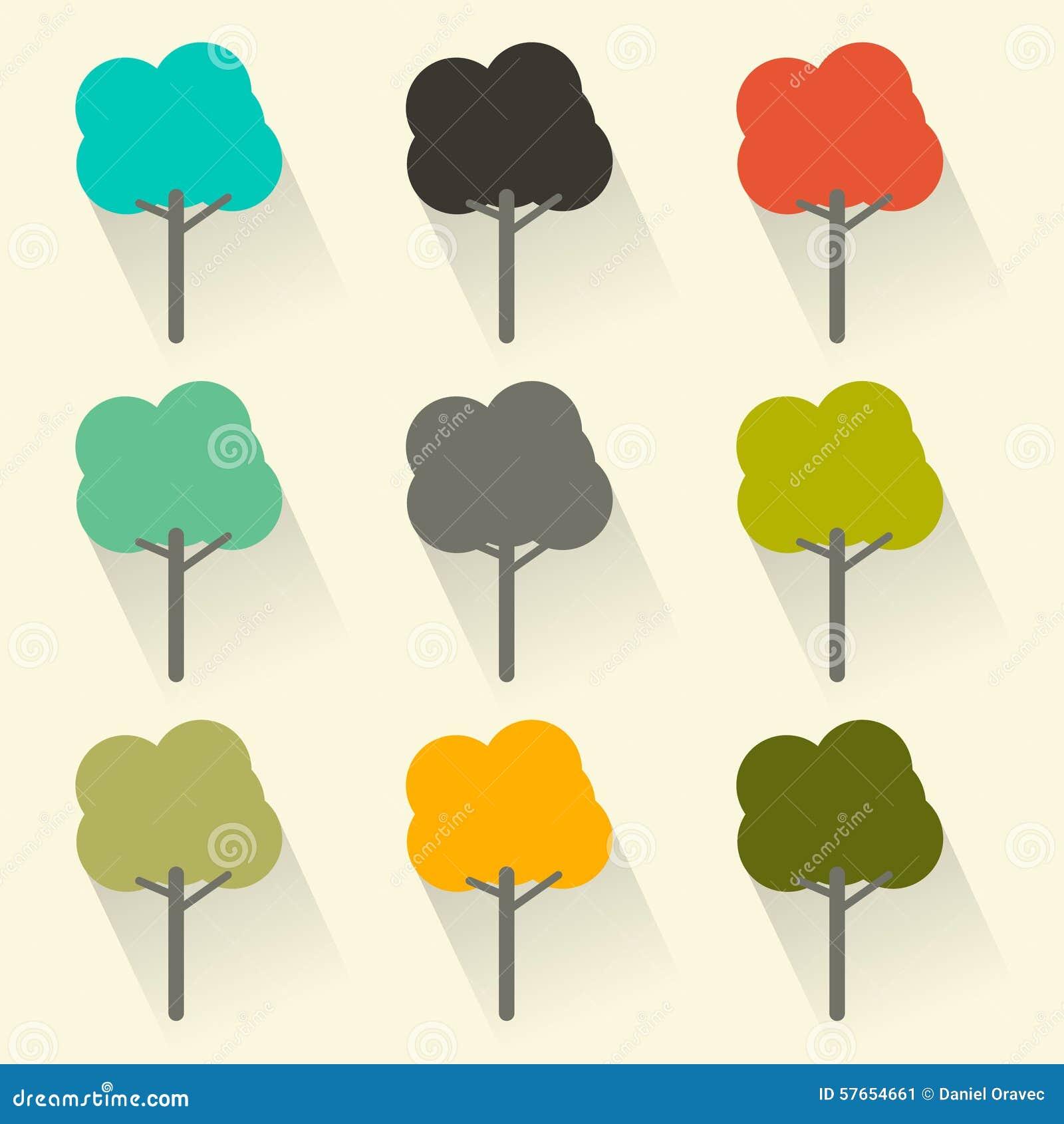 Płaskiego projekta Wektorowi drzewa Ustawiający