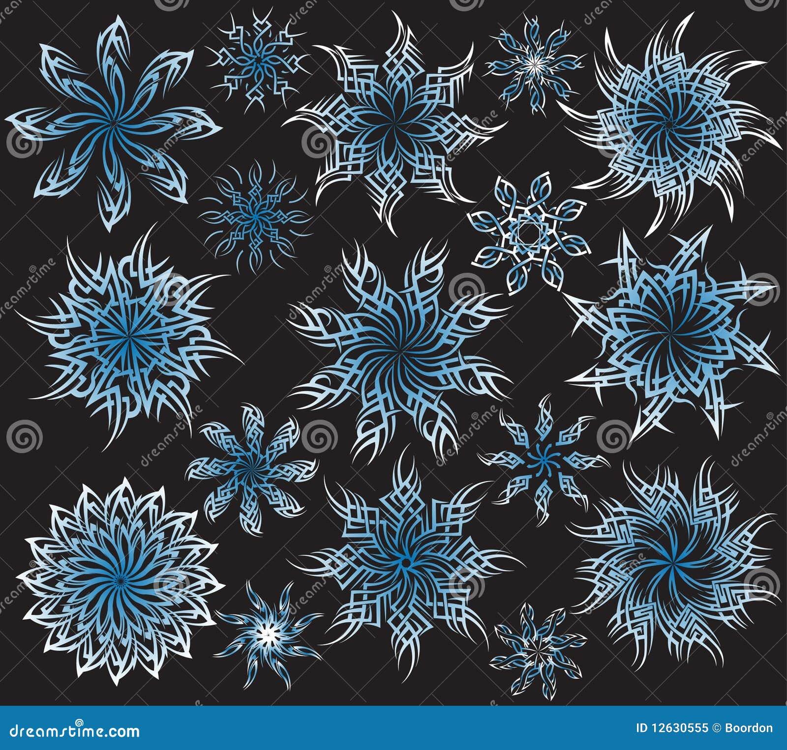 Płatków Wzoru śniegu Tatuaż Ilustracji Ilustracja Złożonej