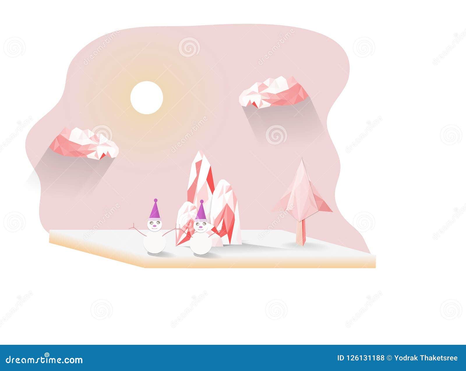 Płatki śniegu i góra różowy wielobok