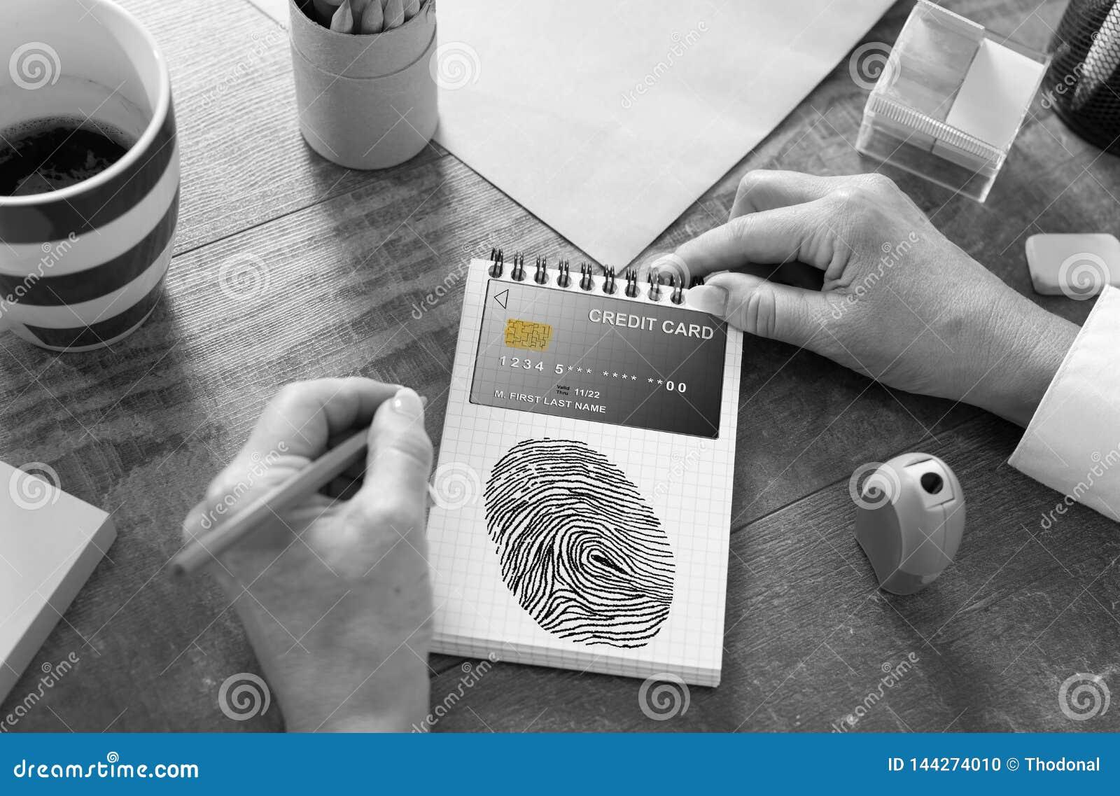 Płatniczy ochrony pojęcie na notepad