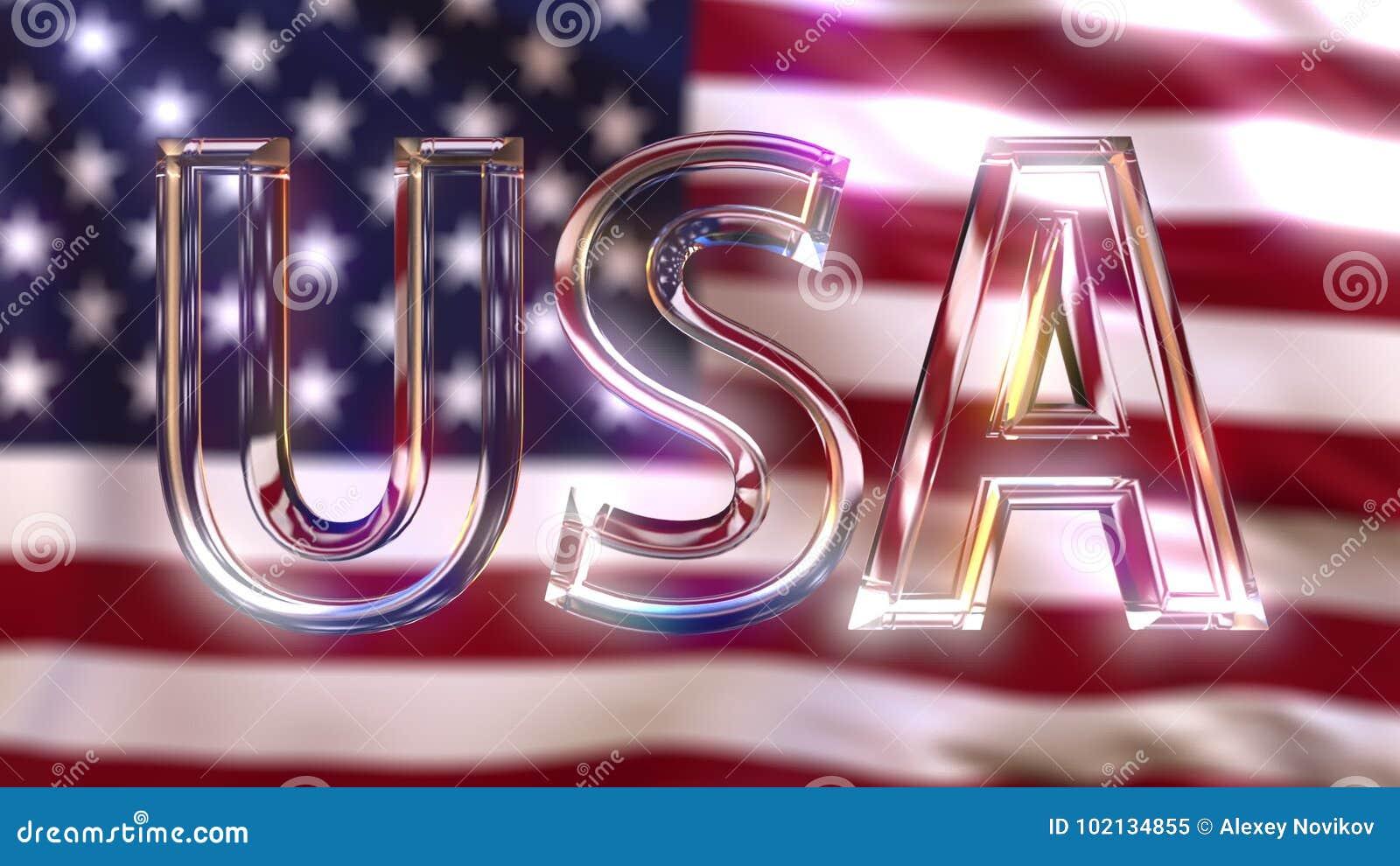 Płodozmienny szklany usa podpis przeciw falowanie flaga amerykańskiej świadczenia 3 d