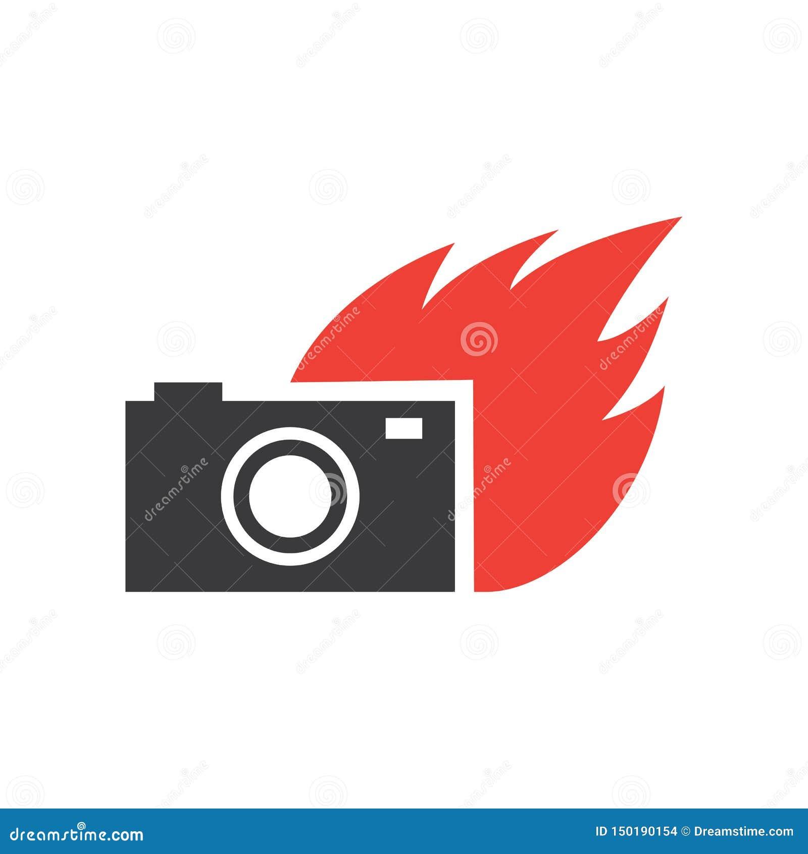 Płomień kamery logo wektor