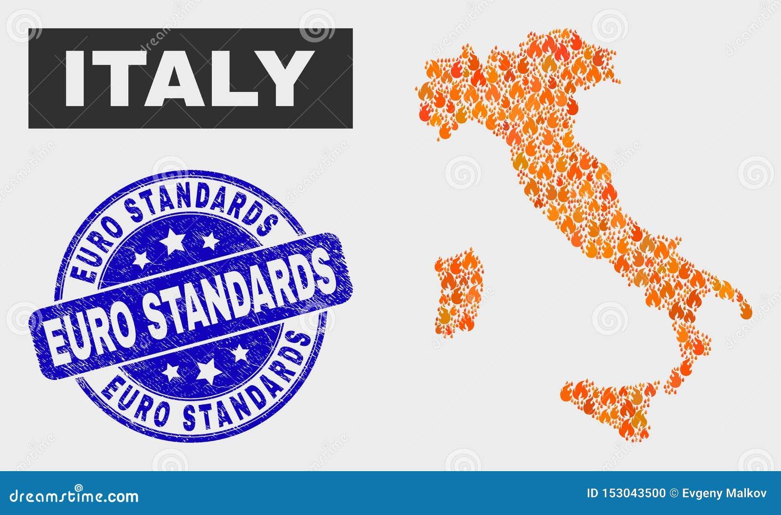 Płomień mozaiki Włochy mapa i Grunge standardów Euro foka