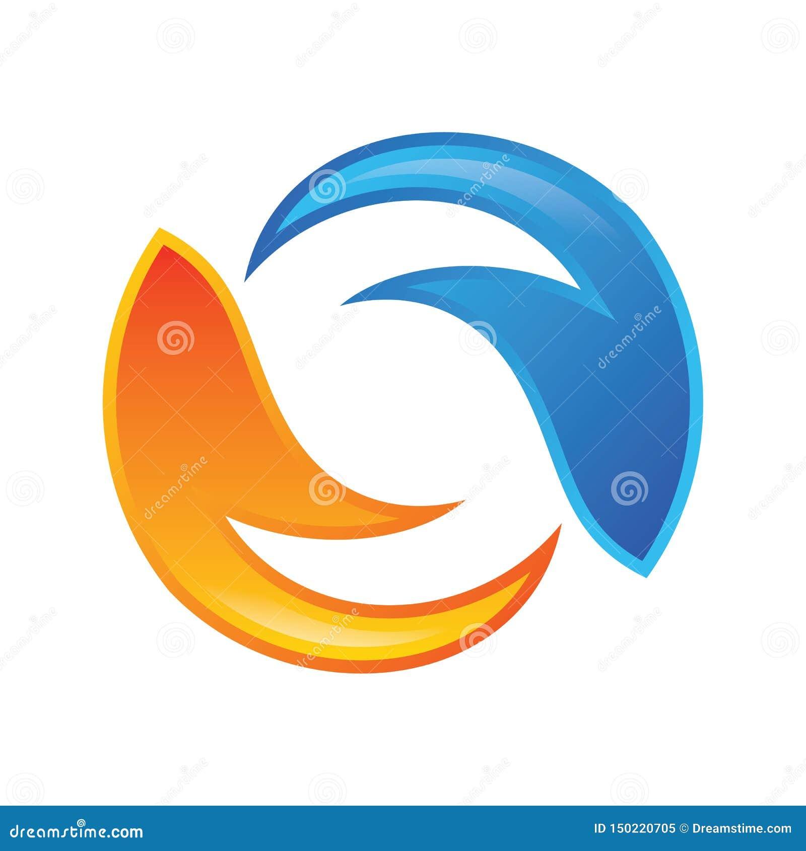 Płomienia okręgu Listowego S logo wektor