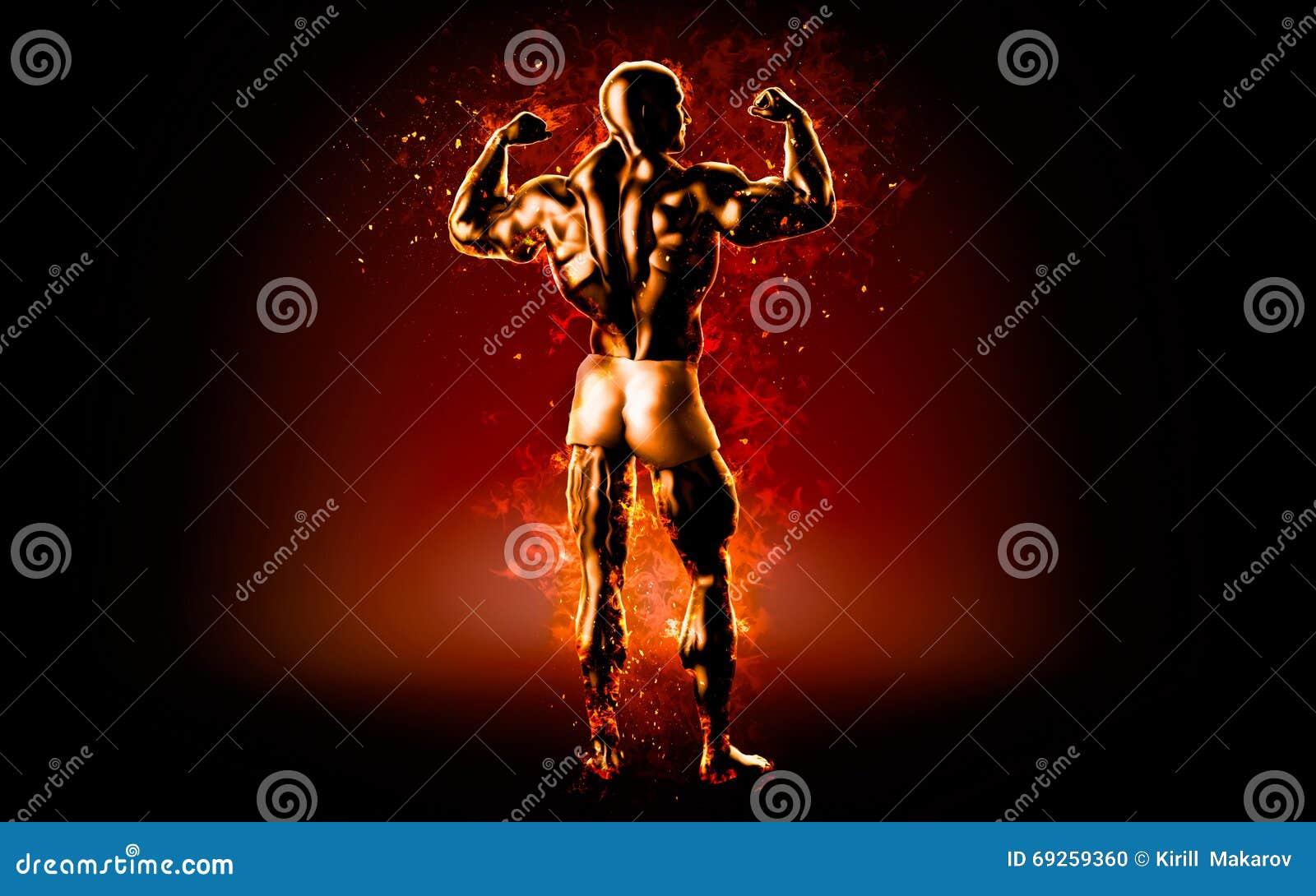 Płomienny bodybuilder pozuje nad czarnym tłem ilustracja 3 d
