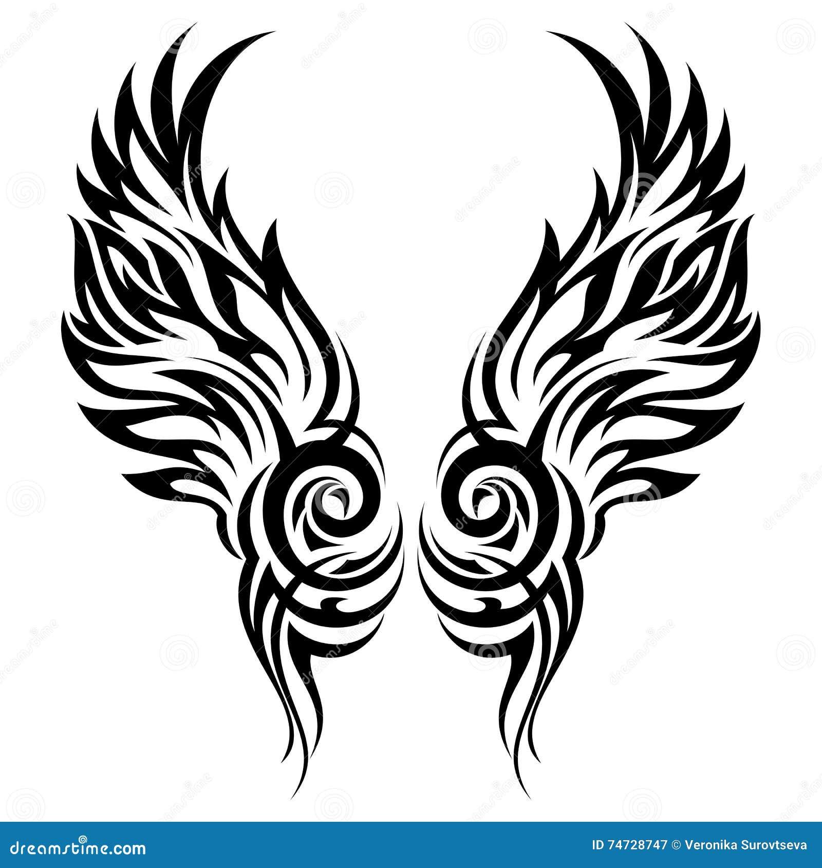 Płonąć Skrzydło Plemiennego Tatuaż Ilustracja Wektor Ilustracja