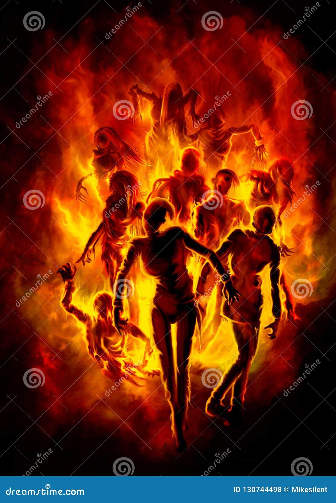 Płonący żywi trupy