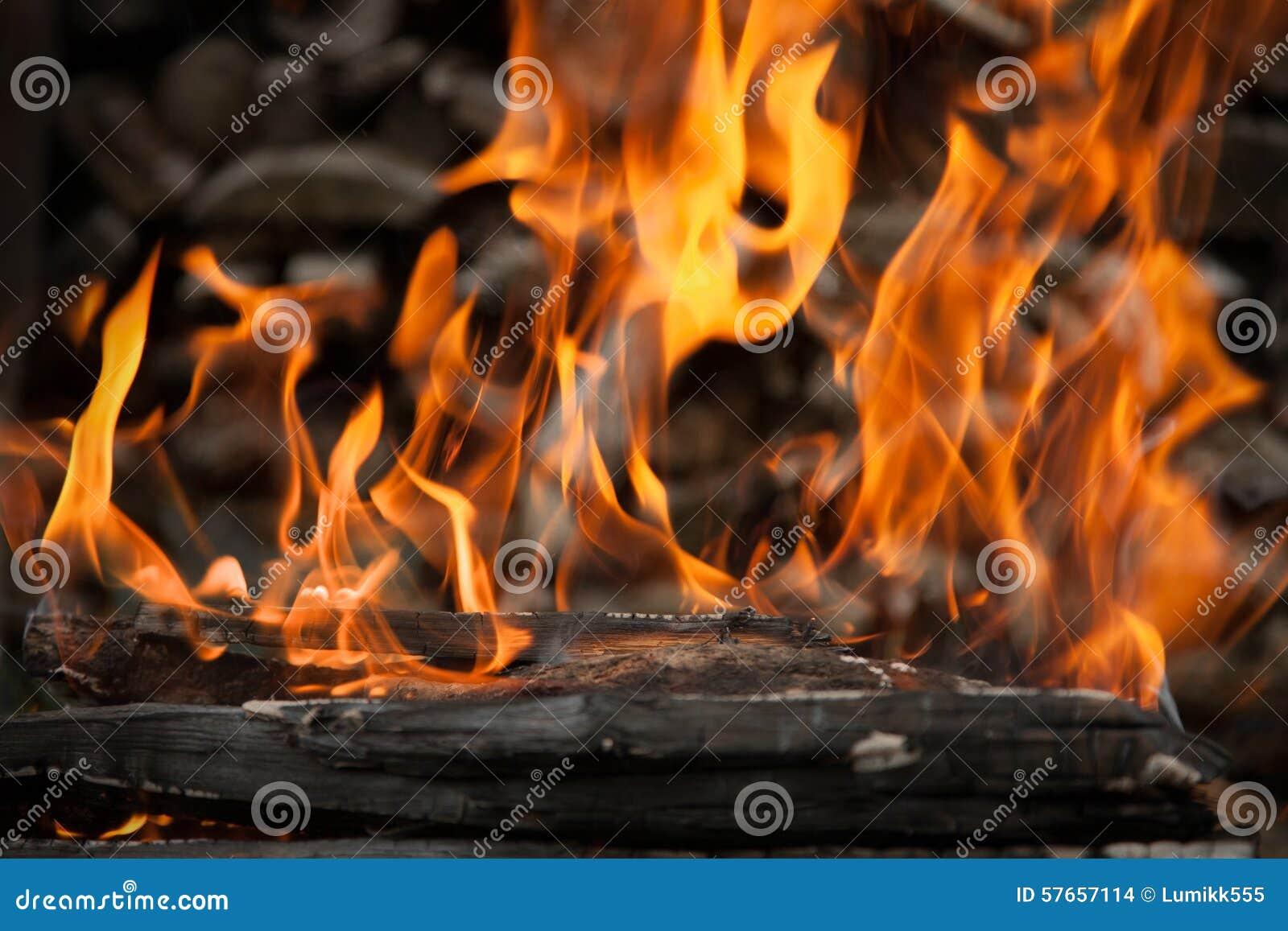 Płonący ogień z drewna