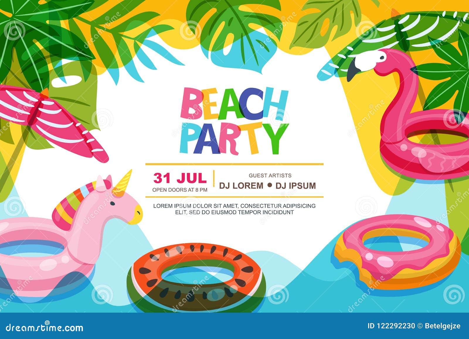 Pływackiego basenu rama z flaminga i jednorożec pławikiem żartuje zabawki Plażowy partyjny wektorowy lato plakat, sztandaru proje
