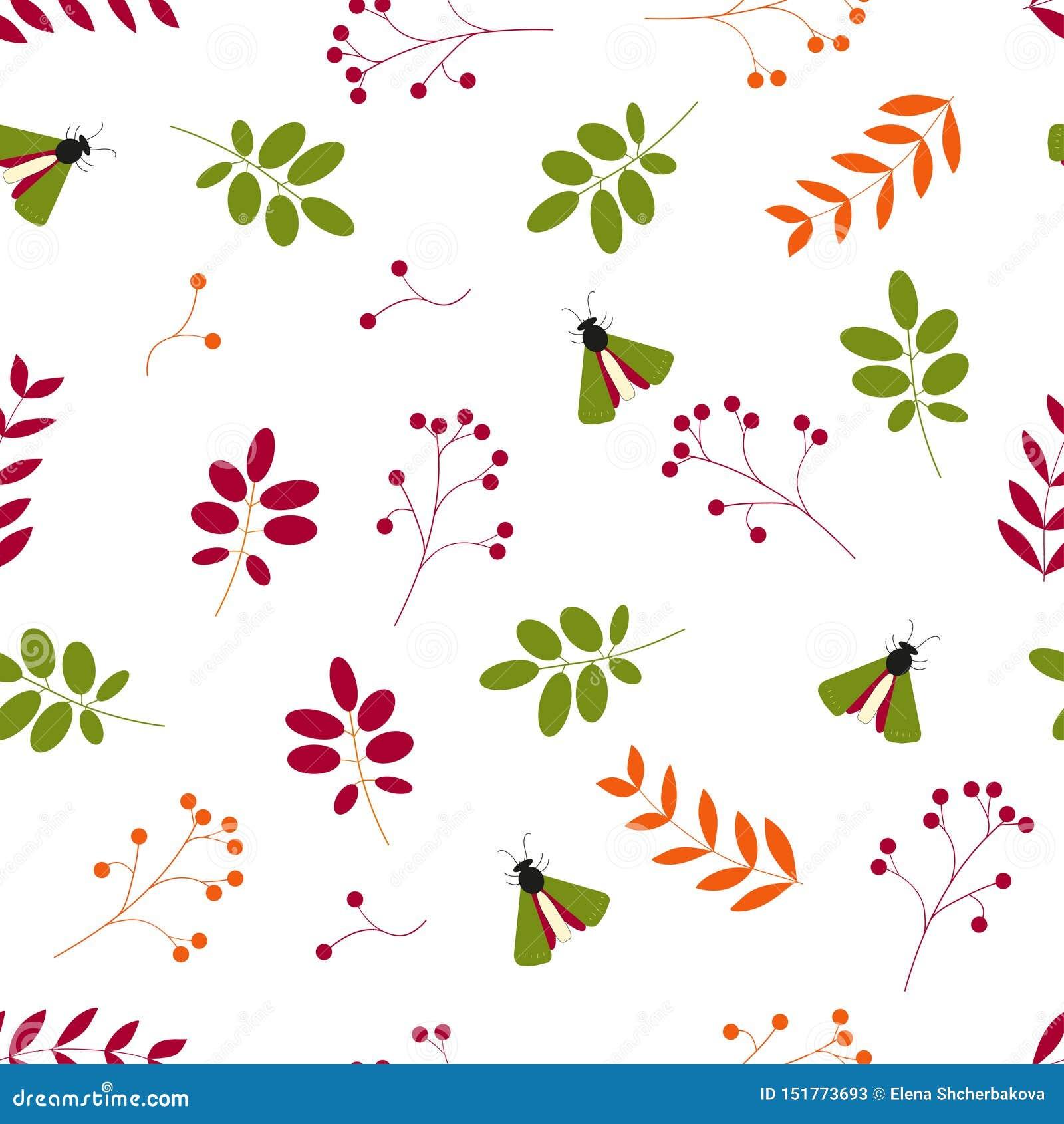 P?aski wektor Bezszwowy wzór: liście, jagody i insekty na białym tle,