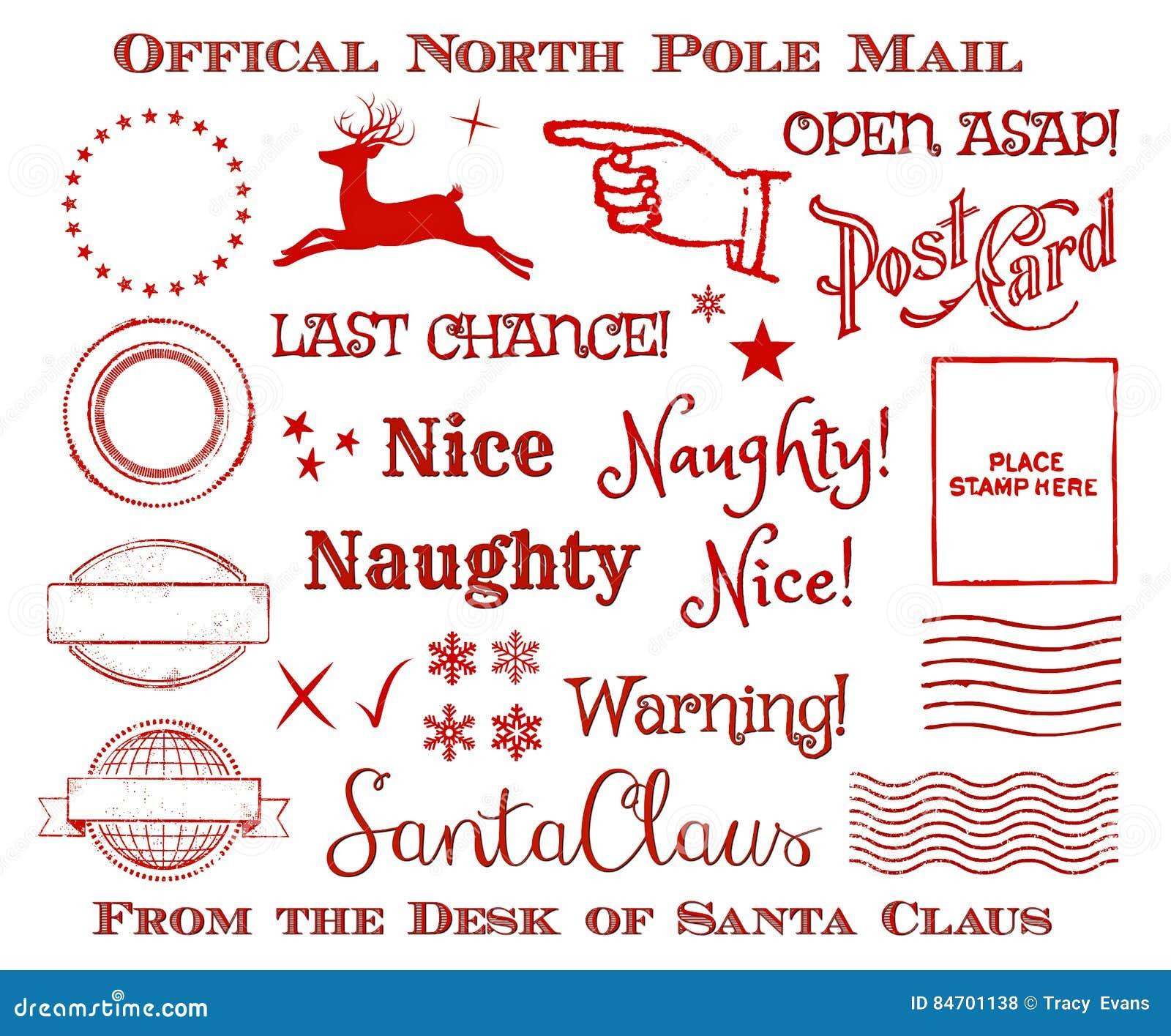Pôle Nord officiel Santa Mail Clip Art Set de Noël de vacances