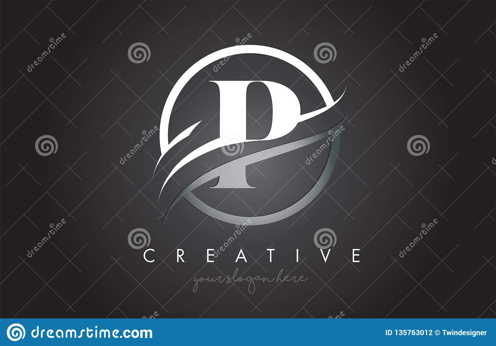 P Letter Logo Design with Circle Steel Swoosh Border and Creative Icon Design
