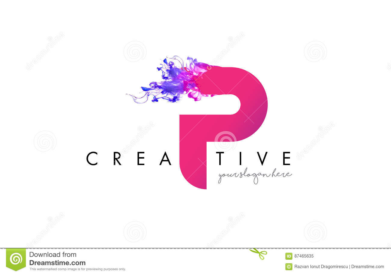 P Letter Logo Design With Ink Cloud Flowing Texture Stock Vector
