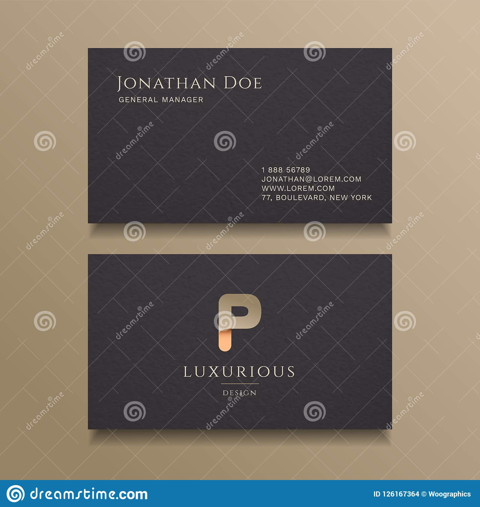 P Letter typography Alphabet logo luxury business card design template