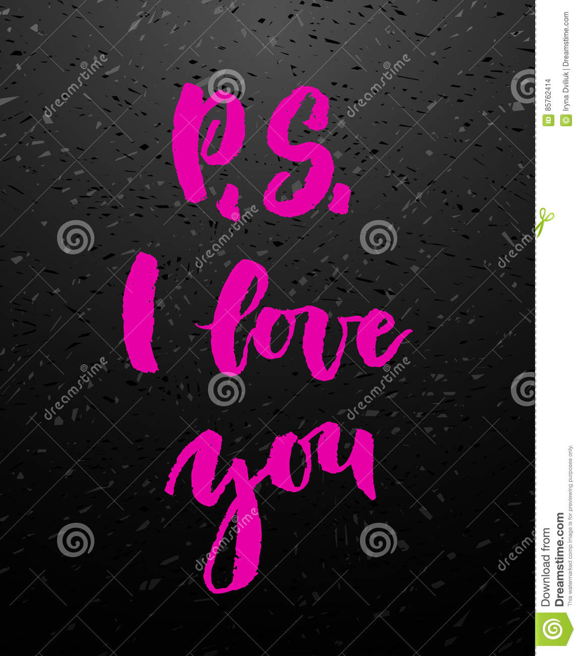 P s i love you greeting card with calligraphy stock vector p s i love you pink calligraphy valentines day romantic quote greeting card handwritten modern brush lover lettering on blackboard m4hsunfo