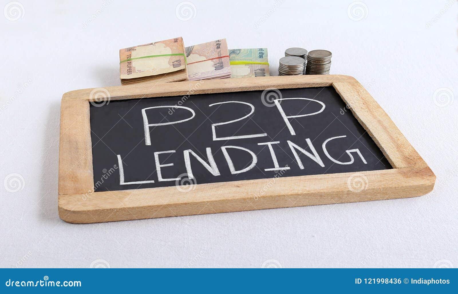 P2p-utlåningbegreppet markerade till och med handskriven text på den svart tavlan