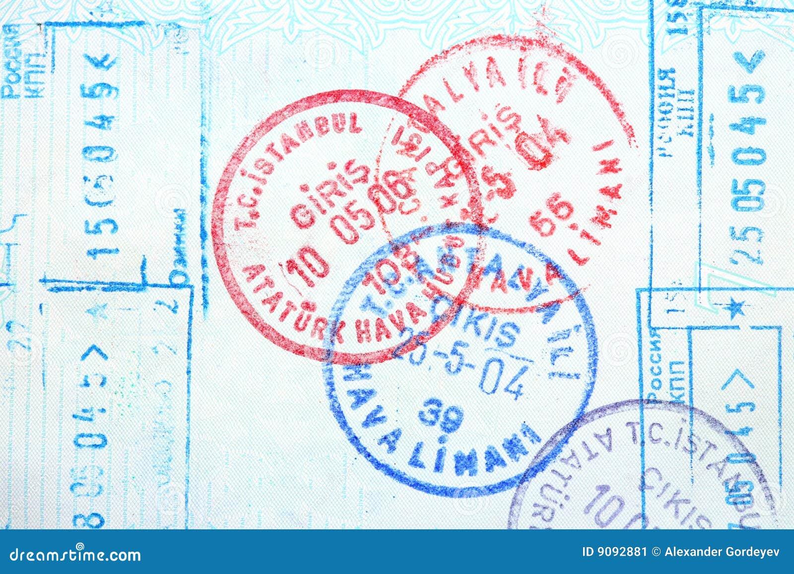 Paß, Visum, stempelt