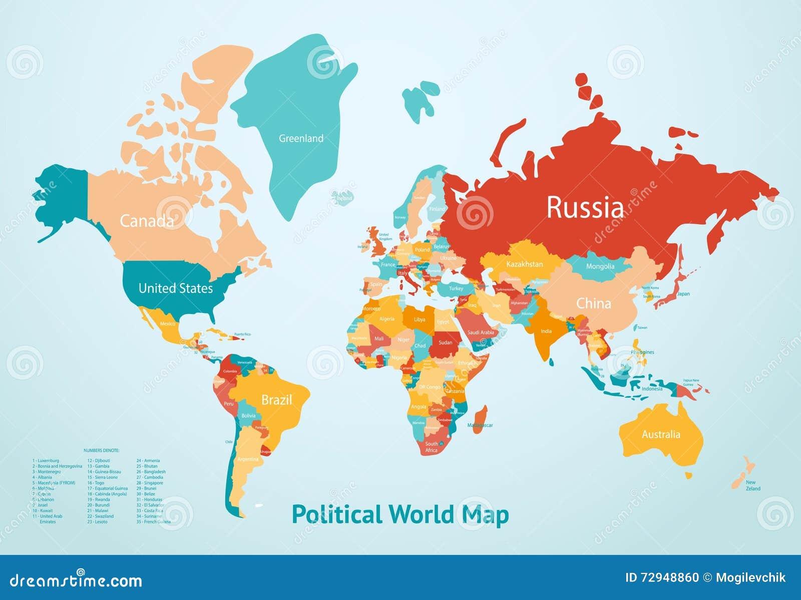 Mapa De Los Paises.Paises Del Mapa De La Tierra Ilustracion Del Vector