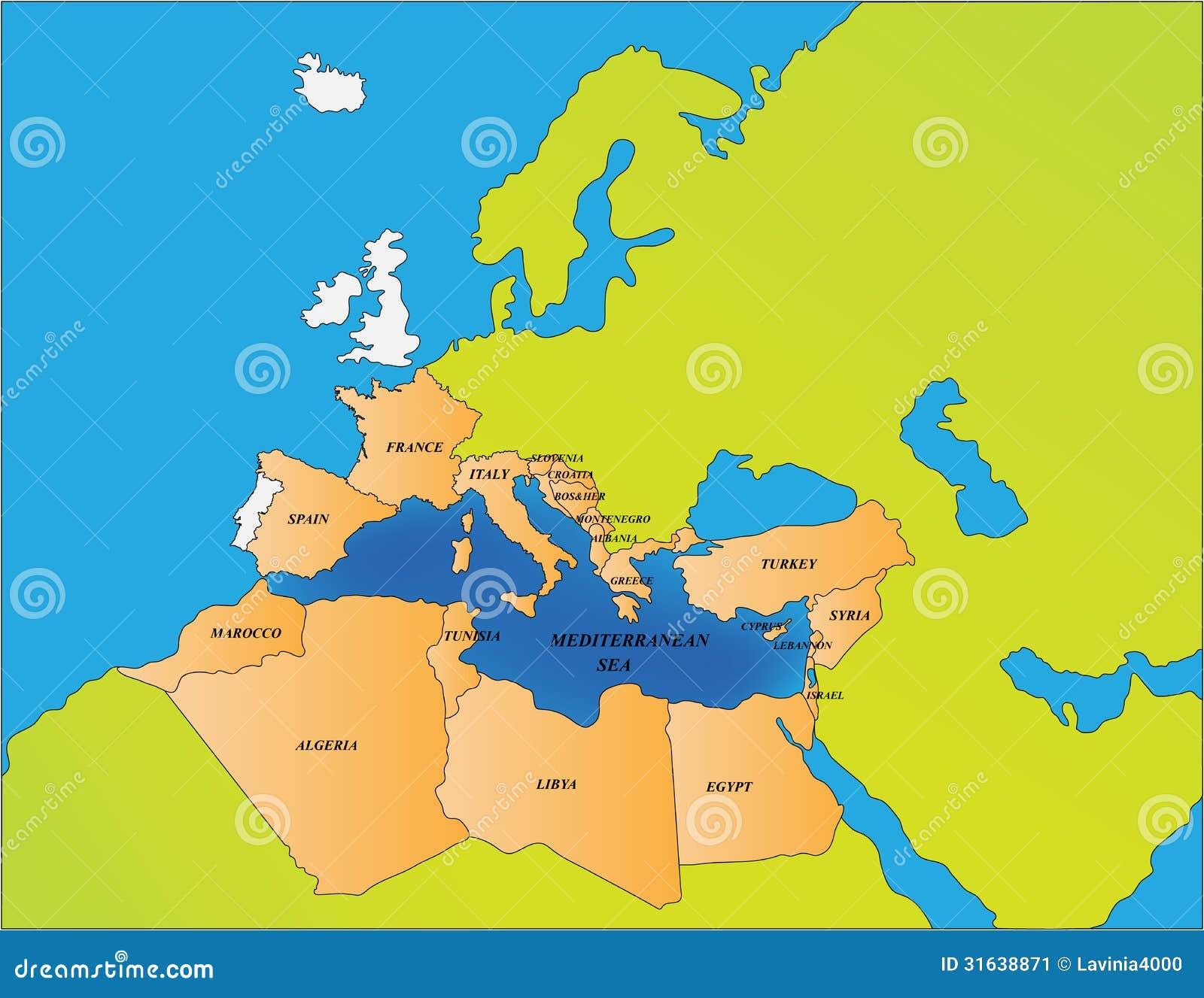 Pa ses del mar mediterr neo ilustraci n del vector - Disenos textiles del mediterraneo ...
