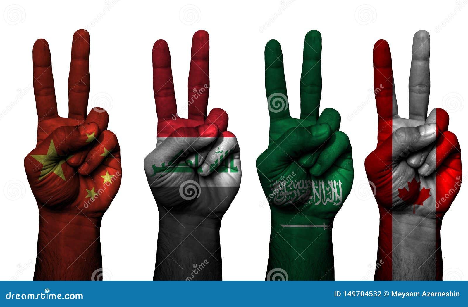 Países do símbolo 4 da mão da paz