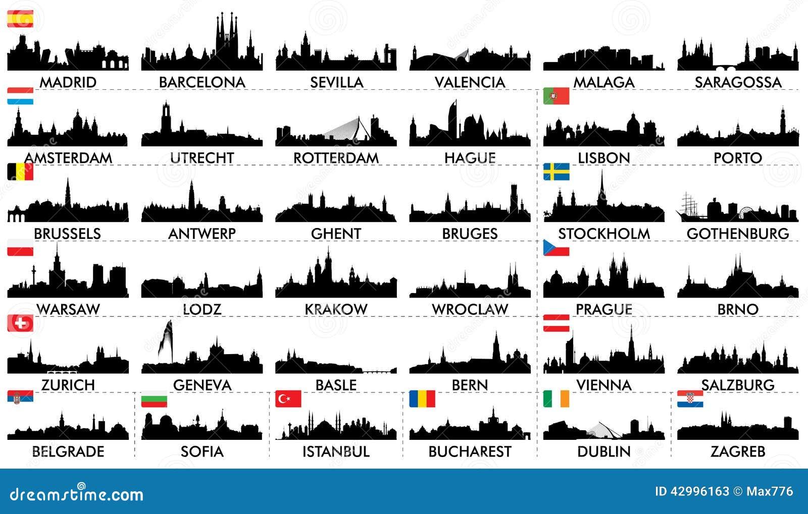 Países europeos del horizonte de la ciudad