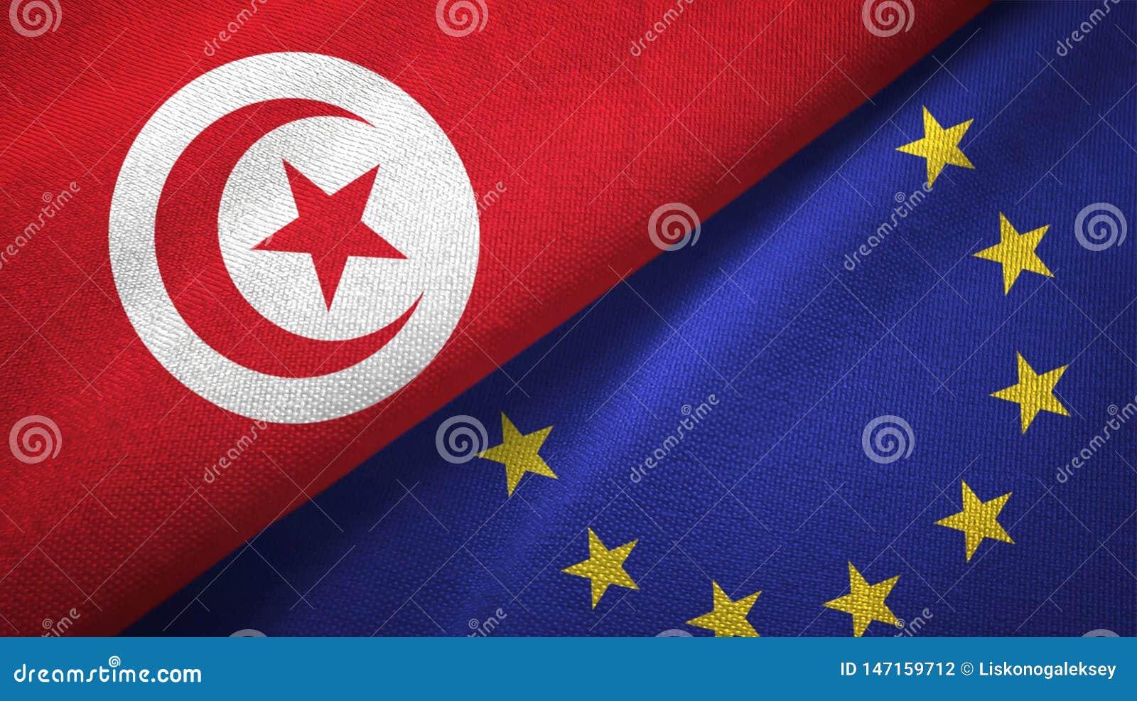Paño de la materia textil de las banderas de Túnez y de la unión europea dos, textura de la tela