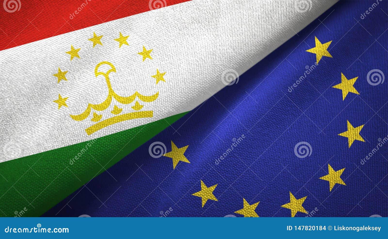 Paño de la materia textil de las banderas de Tayikistán y de la unión europea dos, textura de la tela