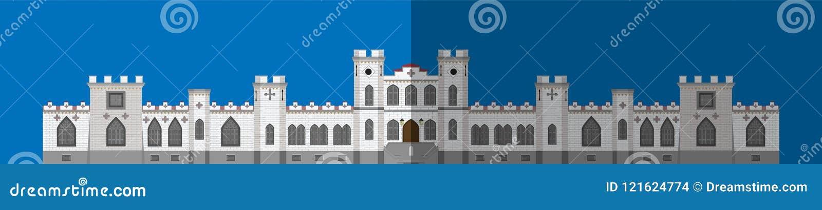 Pałac ikona Płaski wizerunek, frontowy budynek