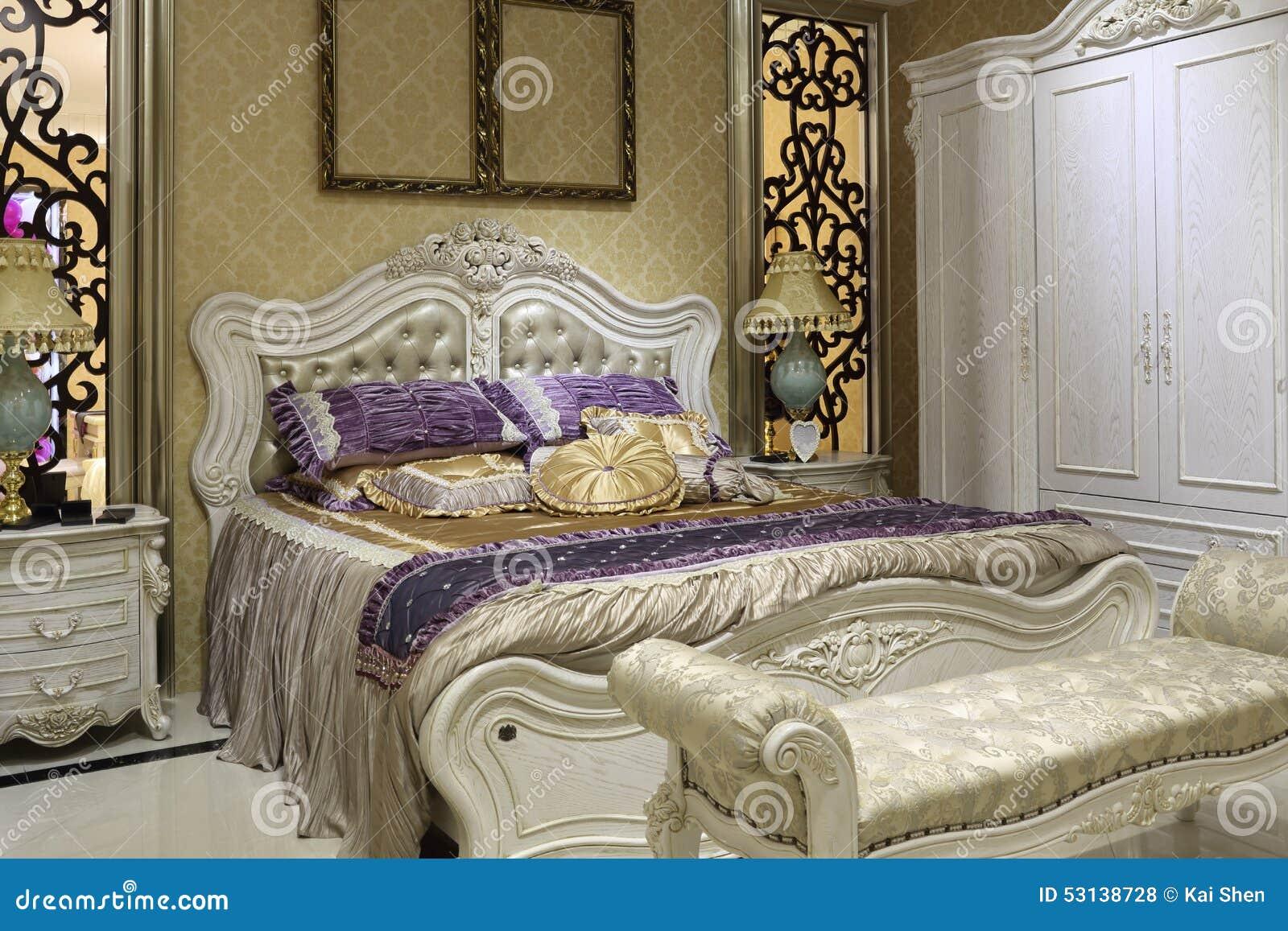 Pałac Stylowa Sypialnia Biała Garderoba Zdjęcie Stock