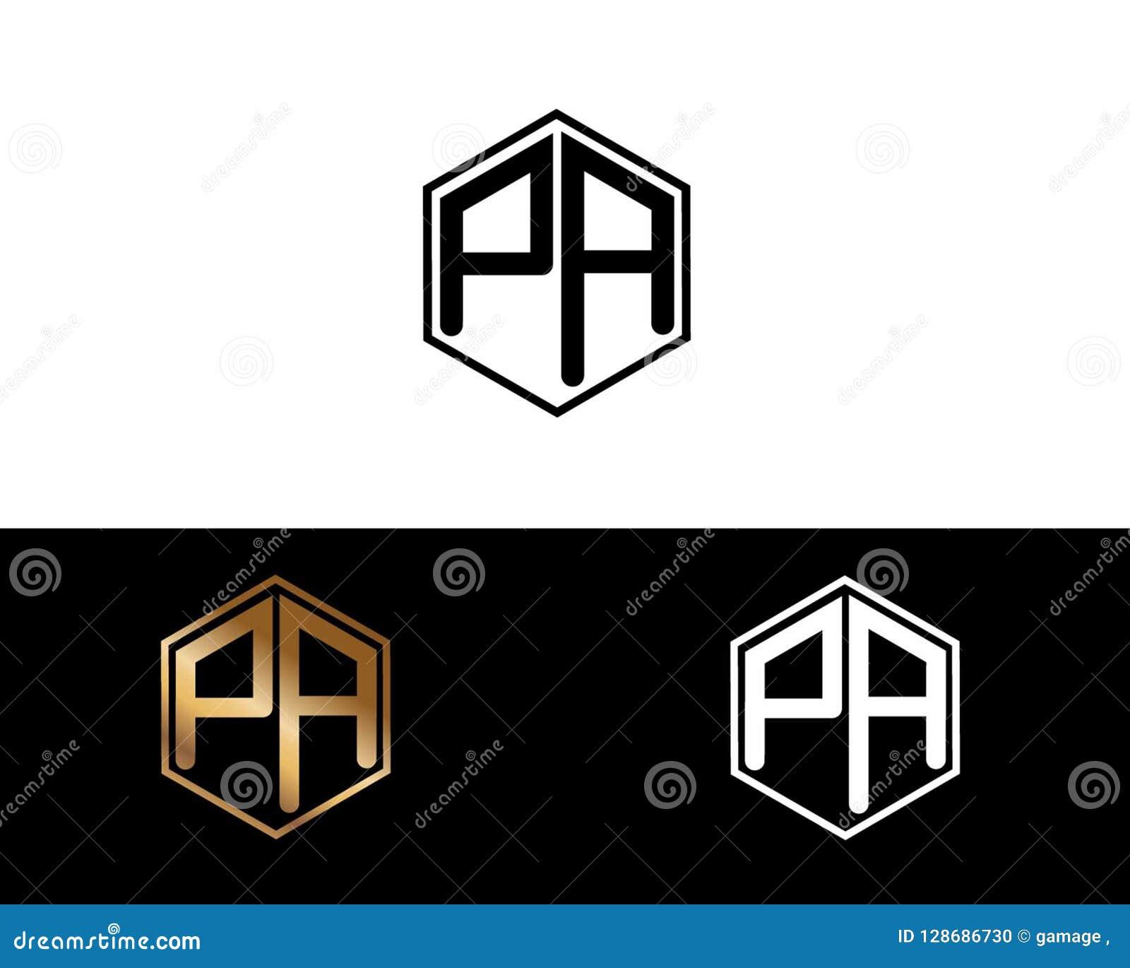 PA-Buchstaben verbunden mit Hexagonformlogo