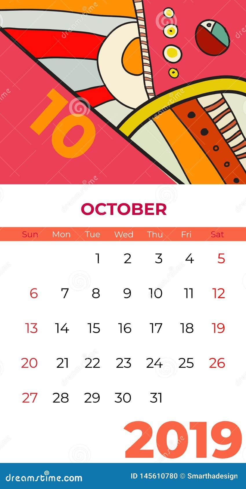 2019 Pa?dziernika kalendarza dzisiejszej ustawy abstrakcjonistyczny wektor Biurko, ekran, desktop miesi?c 10,2019, kolorowi 2019