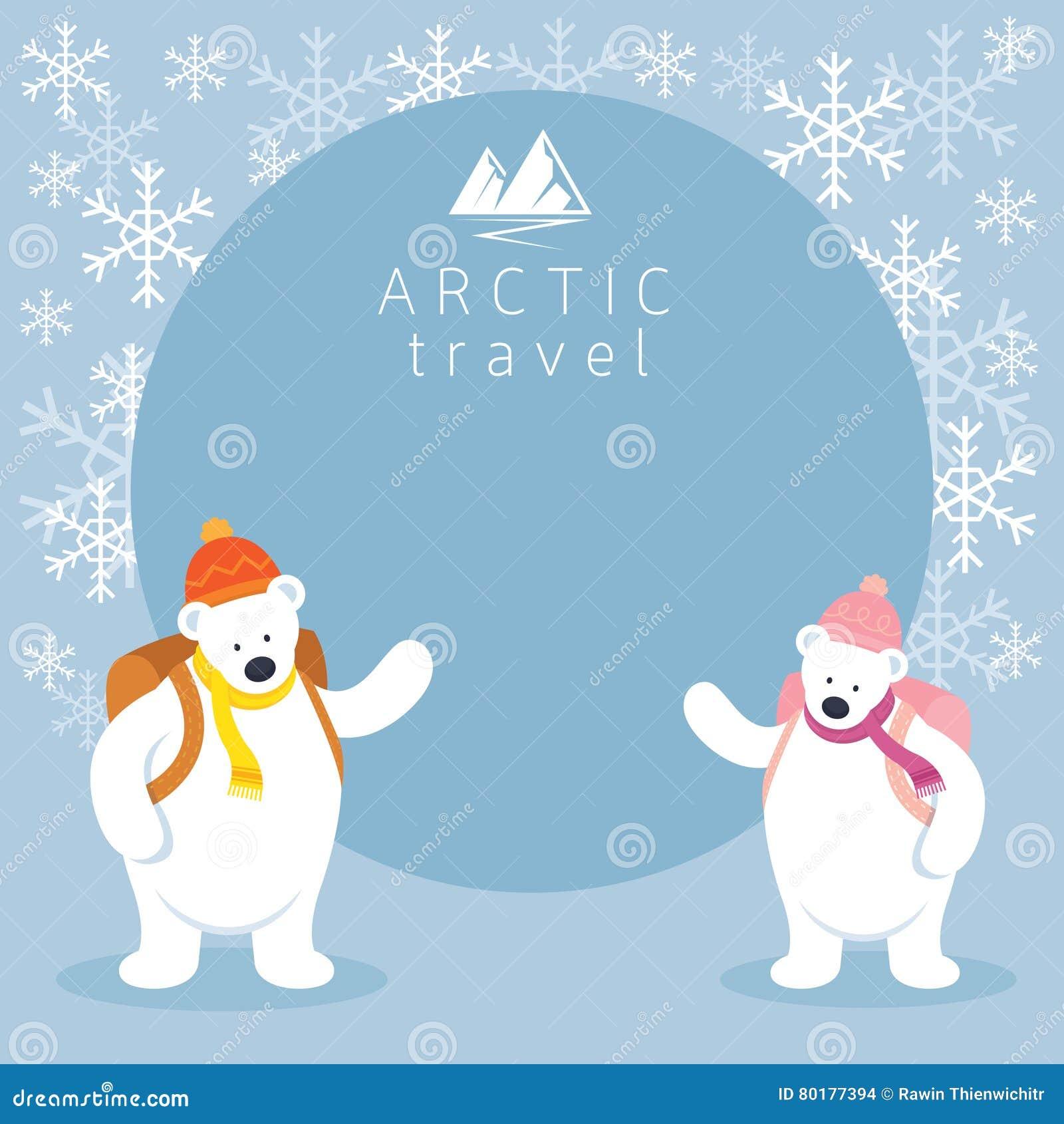 Paar-arktischer Eisbär-Wanderer-Rahmen Vektor Abbildung ...