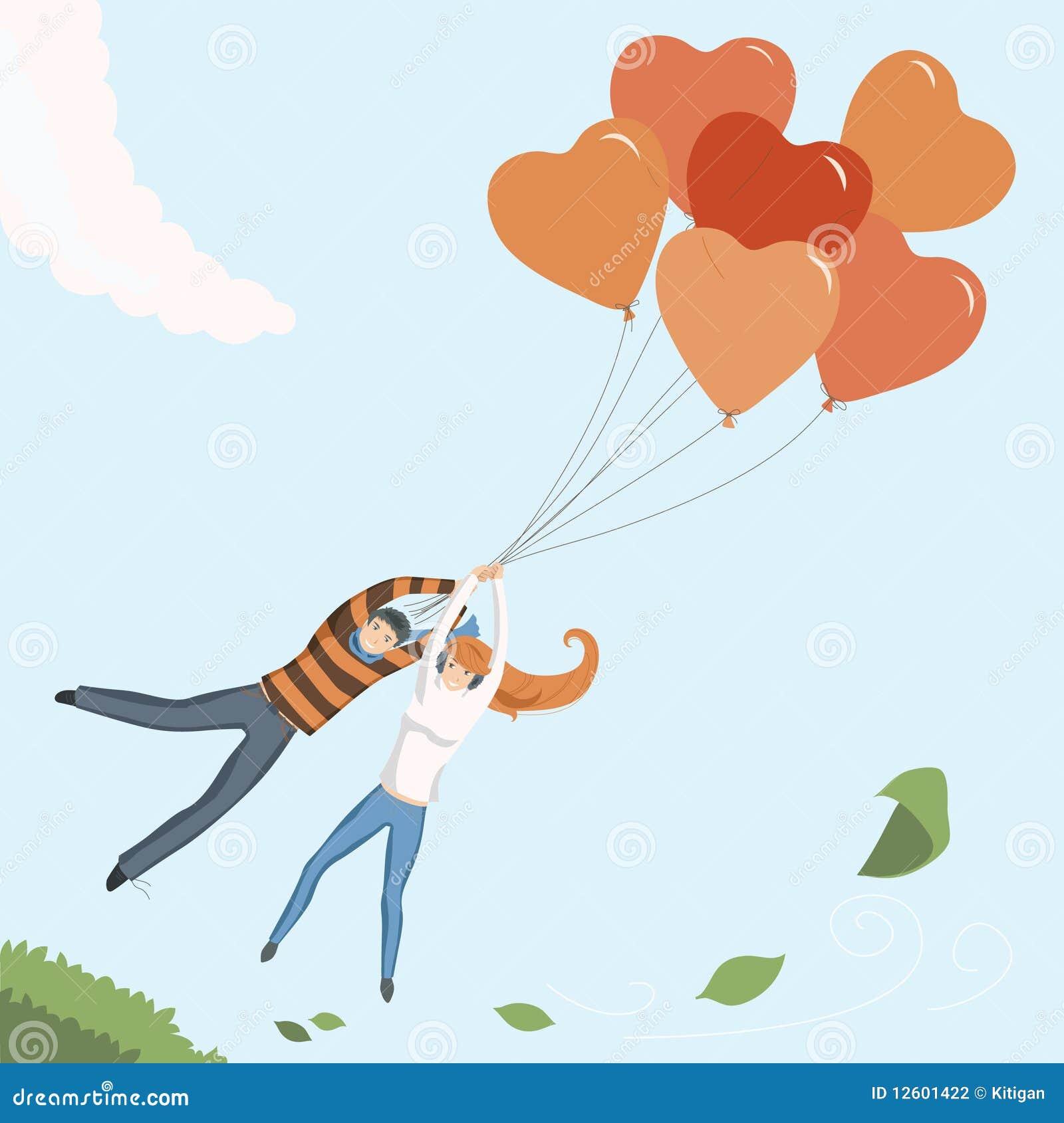 Paar dat door de ballon van het hart vliegt vector for Door het hart van china