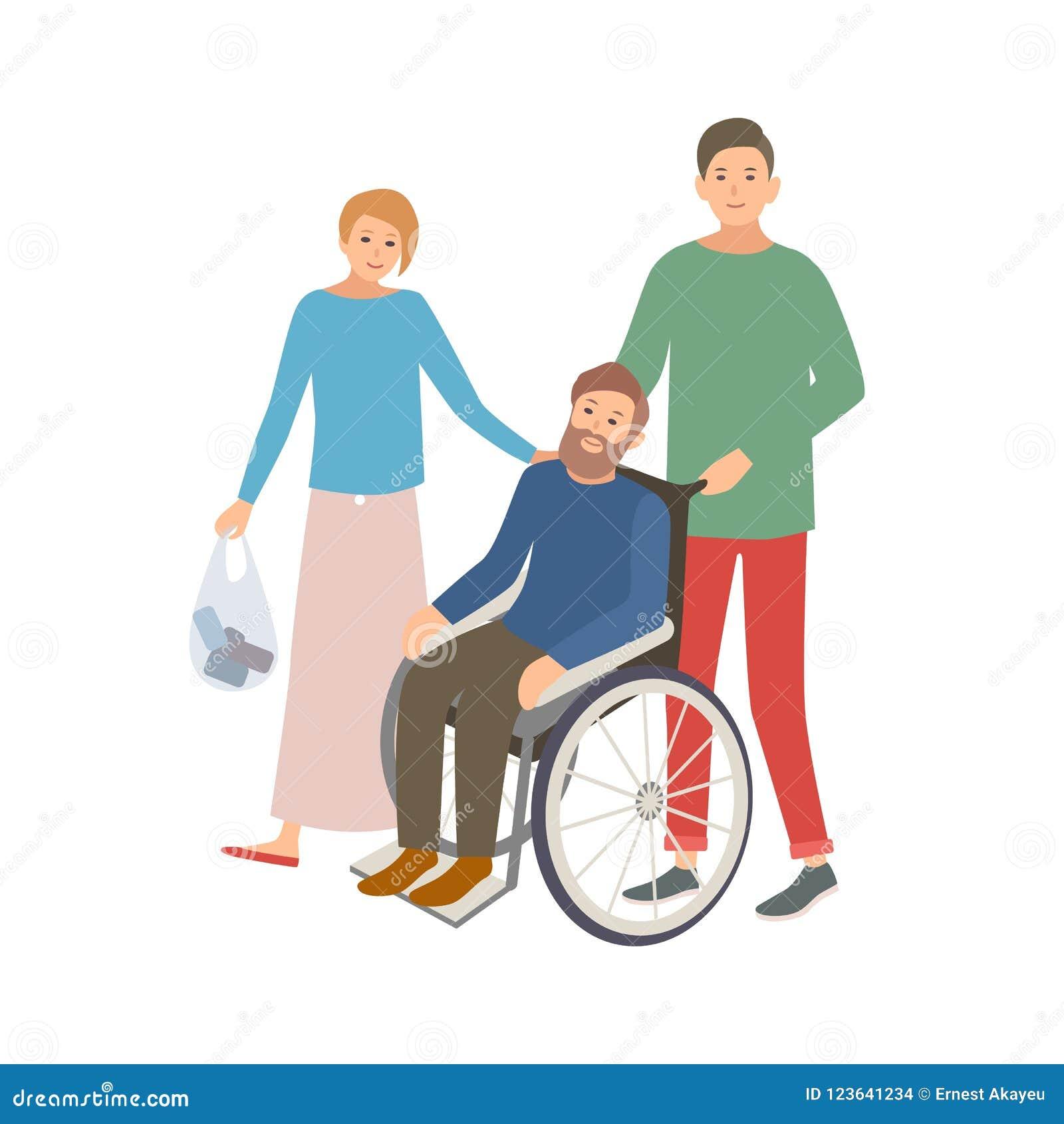 Paar des Mannes und der Frau erbietet helfenden Behinderter freiwillig Teenager und Mädchen, die Mann im Rollstuhl unterstützen f