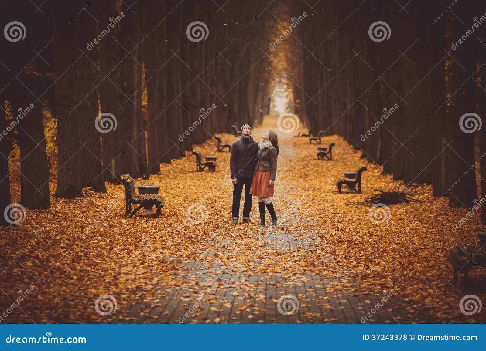 Paar die in liefde op een mooie de herfststeeg lopen in het park