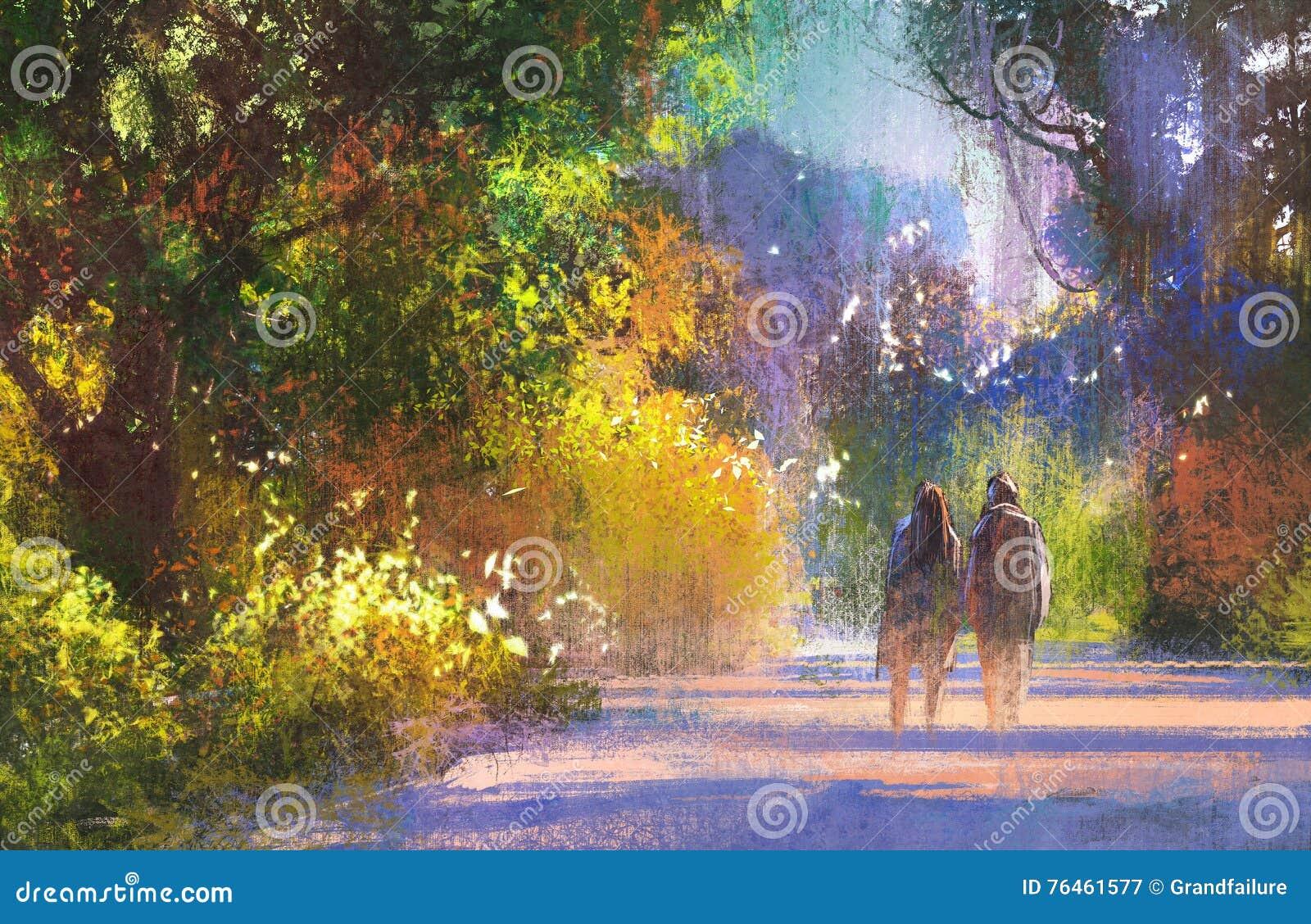 Paar die in mooie plaats, landschap lopen