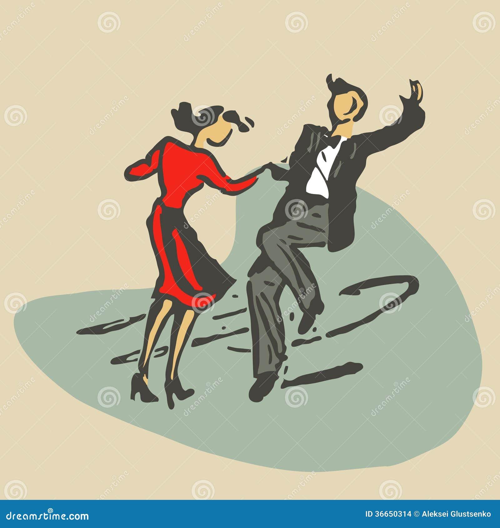 Paar die rocknroll dansen
