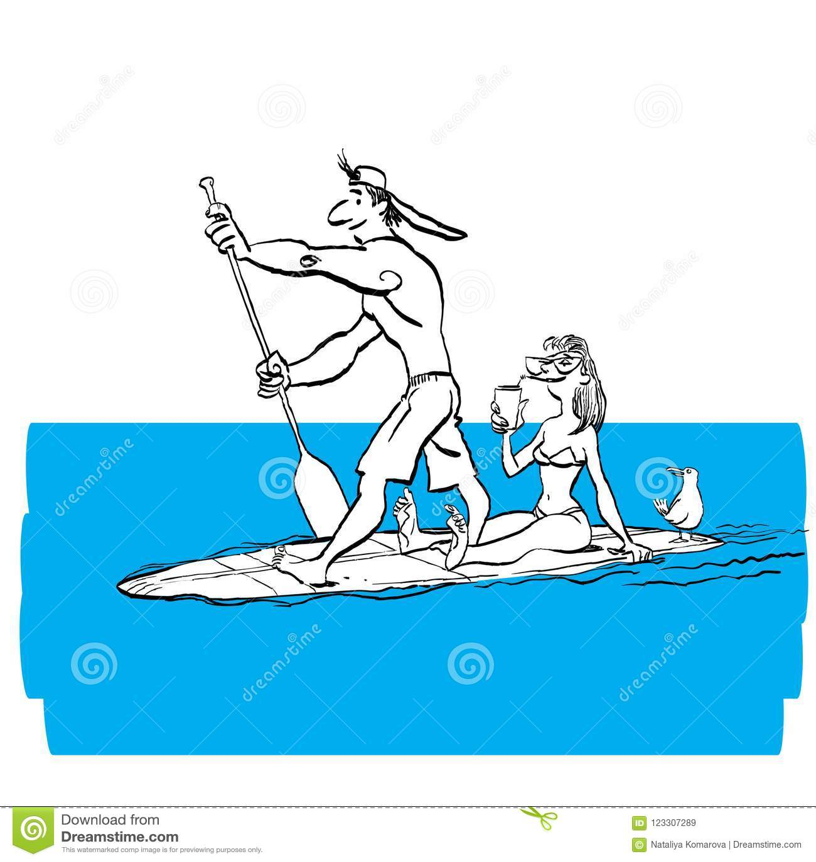 Paar die Tribune doen die omhoog op Peddelraad op Water bij Kust paddelen